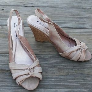 CL by Laundry fabric tan cork wedge heels